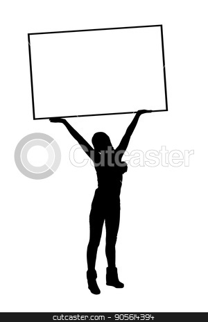 International Women's Day. Illustration, vector for your design stock vector clipart, International Women's Day. Illustration, vector for your design. Silhouette girl holding a frame for text over head. Place under your text by Kseniia