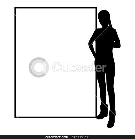 International Women's Day. Illustration, vector for your design stock vector clipart, International Women's Day. Illustration, vector for your design. Silhouette girl one at the frame. Hand near the chest. Place under your text by Kseniia