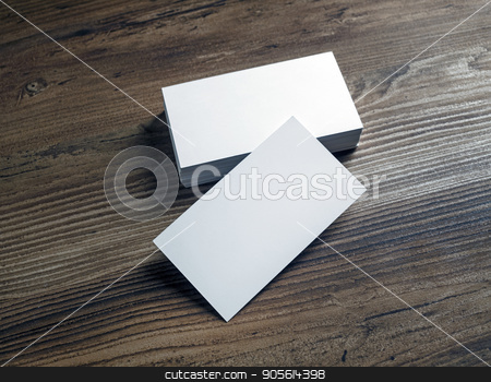 Business cards template stock photo, Photo of blank white business cards on a wood table background. Template for ID. Mock up for for branding identity. by Veresovich