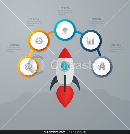 Business infographics. Timeline with 5 circles stock vector clipart, Timeline with 5 step circles. Vector infographic element. by Amelisk