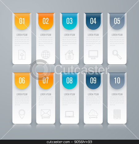 Infographic design template and business concept stock vector clipart, Infographic design template and business concept with 10 options, parts, steps or processes. Can be used for work flow layout, diagram, number options, web design. by Amelisk