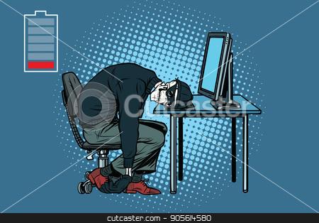 dead hacker skeleton at the computer stock vector clipart, dead hacker skeleton at the computer. Pop art retro vector illustration by studiostoks