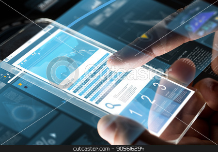 close up of hands with charts on smartphone stock photo, business, statistics, people and future technology concept - close up of businessman hands with charts on transparent smartphone screen and virtual projections over black background by Syda Productions