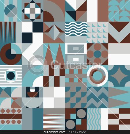 Geometric mosaic seamless pattern stock vector clipart, Contemporary geometric mosaic seamless pattern with a vibrant color scheme, repeat background with rich and modern shapes, surface pattern design for web and print by HypnoCreative