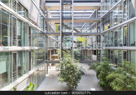 Interior of of morden office building. stock photo, Main hall, staircase and windows of morden office building. Contemporary corporate business architecture. by kasto