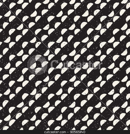 Hand drawn black and white ink abstract seamless pattern. Vector stylish texture. Monochrome geometric shappes paint brush lines stock vector clipart, Hand drawn black and white ink abstract seamless pattern. Vector stylish grunge texture. Monochrome geometric shappes paint brush lines by Samolevsky