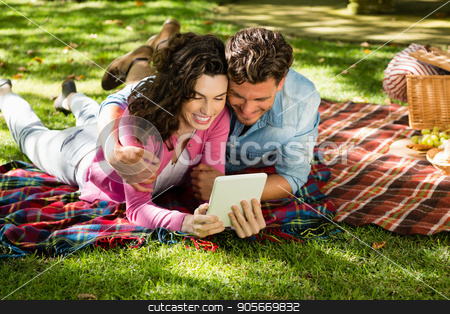 Couple lying on picnic blanket and using digital tablet stock photo, Couple lying on picnic blanket and using digital tablet in park by Wavebreak Media