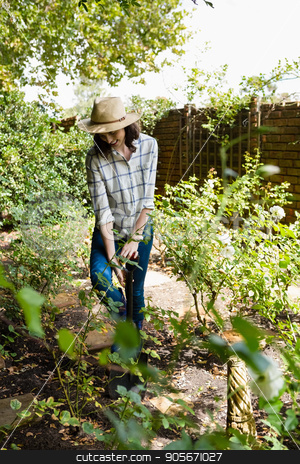 Smiling woman shoveling in the garden stock photo, Smiling woman shoveling in the garden on a sunny day by Wavebreak Media