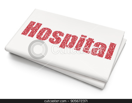 Healthcare concept: Hospital on Blank Newspaper background stock photo, Healthcare concept: Pixelated red text Hospital on Blank Newspaper background, 3D rendering by mkabakov