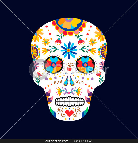 day of the dead skull for mexican celebration stock vector
