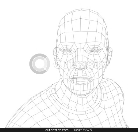 Wire frame mans head stock vector clipart, Wire frame mans head. Vector rendering of 3d. Technology concept by cherezoff
