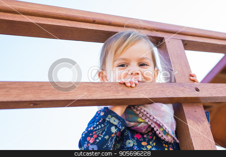 Portrait cute little girl in spring or summer day. stock photo, Portrait cute little girl in spring or summer day by Satura86