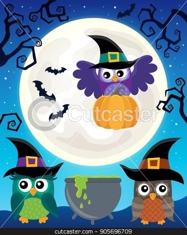 Halloween image with owls theme 5 stock vector clipart, Halloween image with owls theme 5 - eps10 vector illustration. by Klara Viskova