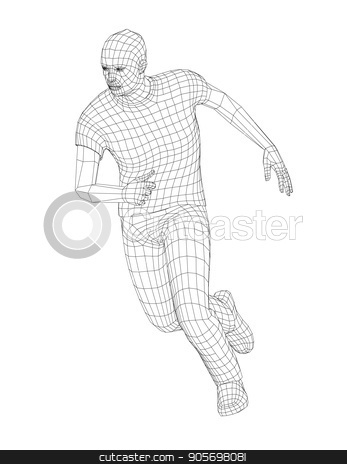 Wire Frame Running Man Stock Vector