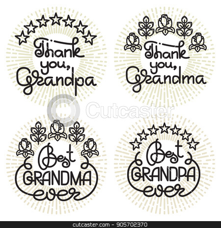 Grandma and grandpa handwritten lettering. Grandparents day set. stock vector clipart, Grandma and grandpa handwritten lettering. Grandparents day emblems, logo set. Vector illustration. Design for grandparents day greeting card, flyer, poster, banner or t-shirt. by VeYe