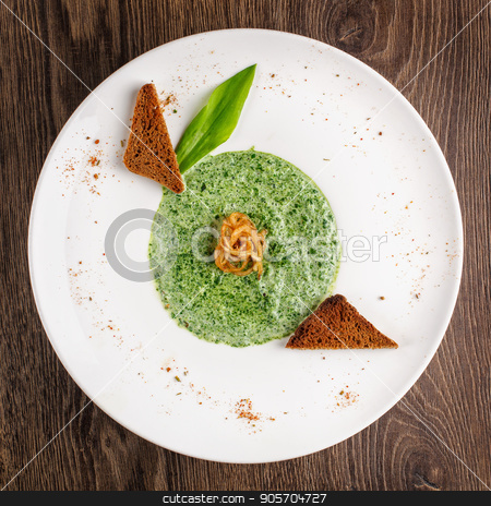 Cream of spinach soup stock photo, green, soup, spinach and food concept - Cream of spinach soup by serkucher