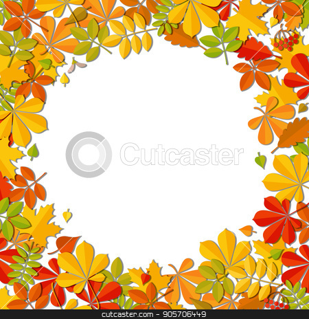 Autumn falling leaf frame isolated on white background. stock vector clipart, Autumn falling leaf frame isolated on white background. Art vector illustration. by verock