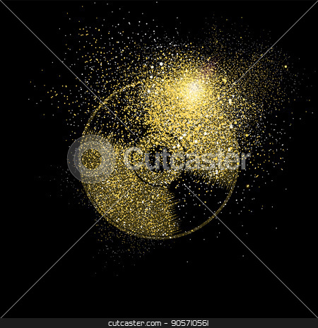 Cd gold glitter art concept symbol illustration stock vector clipart, Vinyl cd symbol concept illustration, gold music icon made of realistic golden glitter dust on black background. EPS10 vector. by Cienpies Design