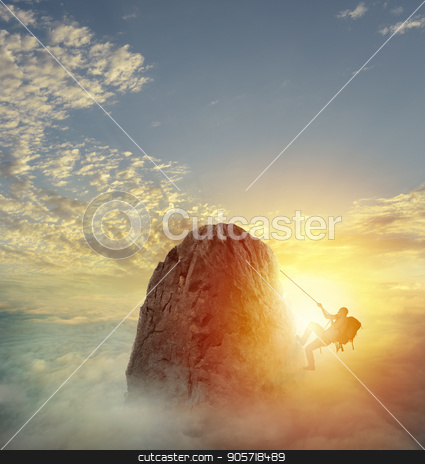 Businessman climb a mountain to get the flag. Achievement business goal and difficult career concept stock photo, Businessman climb a mountain with a rope to get the flag. Achievement business goal and difficult career concept by Federico Caputo