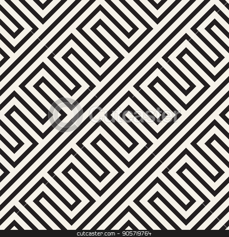 Abstract geometric pattern with stripes, lines. Seamless vector ackground. Black and white lattice texture. stock vector clipart, Abstract geometric pattern with stripes, lines. Seamless vector stylish ackground. Black and white lattice texture. by Samolevsky