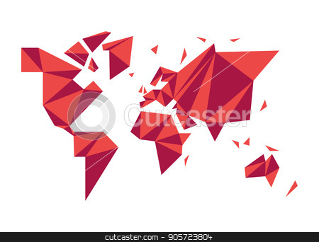 Abstract low poly world map modern concept shape stock vector clipart, Modern world map illustration template in abstract low poly geometric style. Simple planet silhouette shape concept design. EPS10 vector. by Cienpies Design