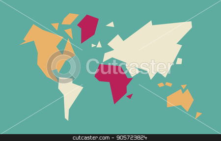 Abstract world map geometric concept illustration stock vector clipart, Abstract geometric world map art with colorful continent and country shapes. Concept global atlas illustration. EPS10 vector. by Cienpies Design