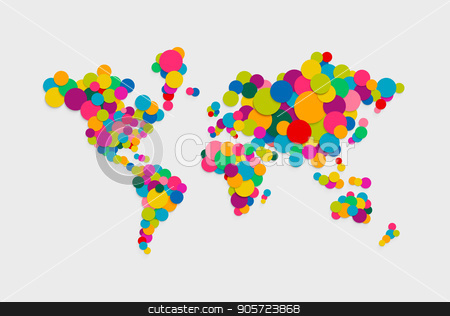 Circle world map modern color concept illustration stock vector clipart, Colorful abstract world map concept illustration made of vibrant multicolor circles in 3d paper cut style. EPS10 vector. by Cienpies Design