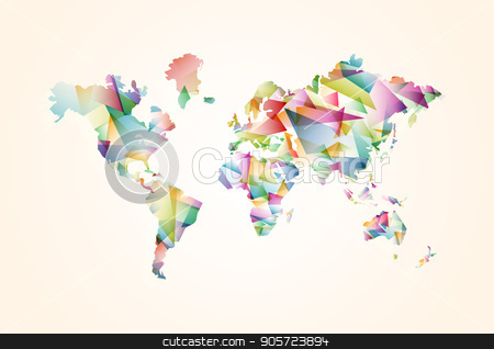 Abstract triangle world map concept illustration stock vector clipart, Abstract world map illustration template made of colorful transparent triangle shapes. Modern geometric planet silhouette. EPS10 vector. by Cienpies Design