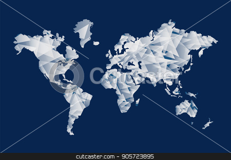 Triangle shape world map concept illustration stock vector clipart, Abstract world map illustration template made of triangle shapes. Modern geometric planet silhouette. EPS10 vector. by Cienpies Design