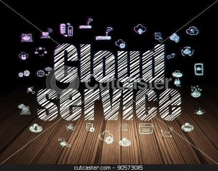 Cloud computing concept: Cloud Service in grunge dark room stock photo, Cloud computing concept: Glowing text Cloud Service,  Hand Drawn Cloud Technology Icons in grunge dark room with Wooden Floor, black background by mkabakov