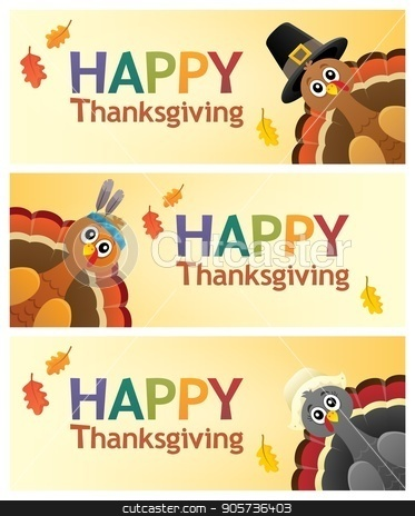 Happy Thanksgiving banners 1 stock vector clipart, Happy Thanksgiving banners 1 - eps10 vector illustration. by Klara Viskova
