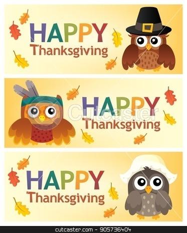 Happy Thanksgiving banners 2 stock vector clipart, Happy Thanksgiving banners 2 - eps10 vector illustration. by Klara Viskova