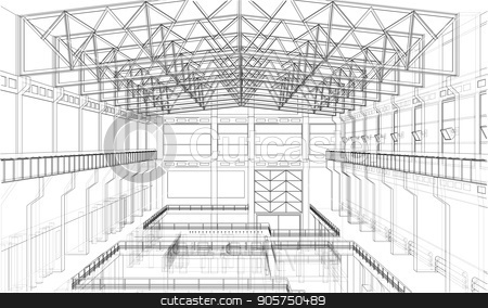 Warehouse sketch. Vector stock vector