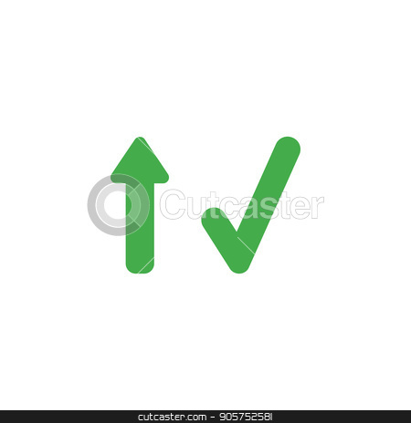 Flat Design Style Vector Concept Of Arrow Up And Check Mark Stock Vector