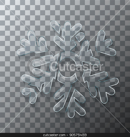 Vector modern concept broken snowflake glass on transparent background. stock vector clipart, Vector modern concept broken snowflake glass on transparent background by petr zaika