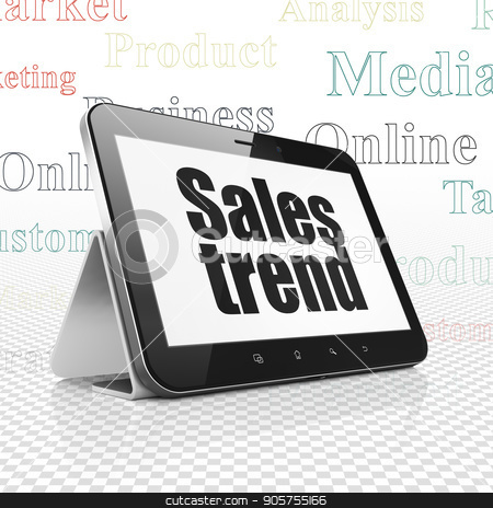 Advertising concept: Tablet Computer with Sales Trend on display stock photo, Advertising concept: Tablet Computer with  black text Sales Trend on display,  Tag Cloud background, 3D rendering by mkabakov
