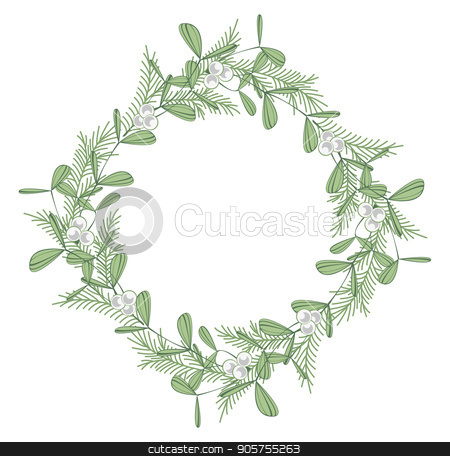 Christmas wreath with branches and mistletoe stock vector clipart, Vector illustration of Christmas decoration with branches and mistletoe. Happy Christmas greeting card by Miroslava Hlavacova