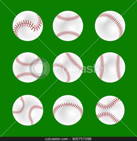 Set of Baseball Balls stock vector clipart, Set of Baseball Balls Isolated on Green Background by valeo5