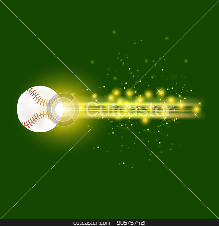 Burning Baseball Ball with Yellow Sparkles stock vector clipart, Burning Baseball Ball with Yellow Sparkles Isolated on Green Background by valeo5