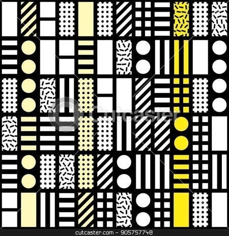Decorative geometric shapes tiling. Monochrome irregular pattern.  Abstract  background. Artistic decorative ornamental lattice stock photo, Decorative geometric shapes tiling. Monochrome trendy irregular pattern.  Abstract  background. Artistic decorative ornamental lattice by CreatorsClub