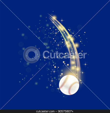 Flying Baseball Ball stock vector clipart, Flying Baseball Ball with Yellow Sparkles Isolated on Blue Background by valeo5