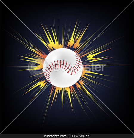 Baseball Ball with Yellow Explosion stock vector clipart, Baseball Ball with Yellow Explosion Isolated on Dark Background by valeo5