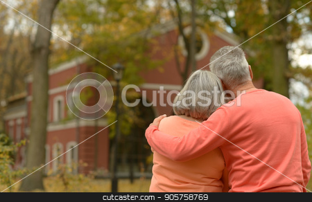Senior couple in autumn park  stock photo, happy Senior couple posing in autumn park by Ruslan Huzau