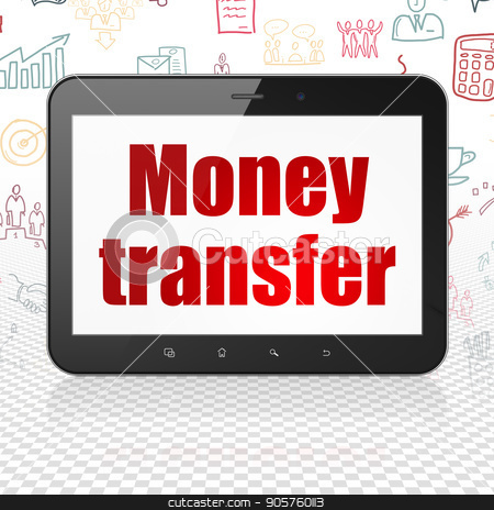 Business concept: Tablet Computer with Money Transfer on display stock photo, Business concept: Tablet Computer with  red text Money Transfer on display,  Hand Drawn Business Icons background, 3D rendering by mkabakov