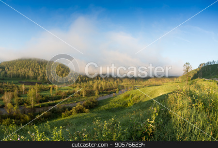 Fog step between mountain. stock photo, Fog step between mountain in the Ailai mountains, Russia by Vassiliy Kochetkov