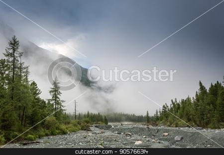 Fog step between mountain. stock photo, Fog step between mountain in the Ailai mountains, Russia by Vassiliy Kochetkov