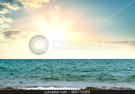 Magic sunrise over sea stock photo, Magic sunrise over sea. Beautiful background by cherezoff