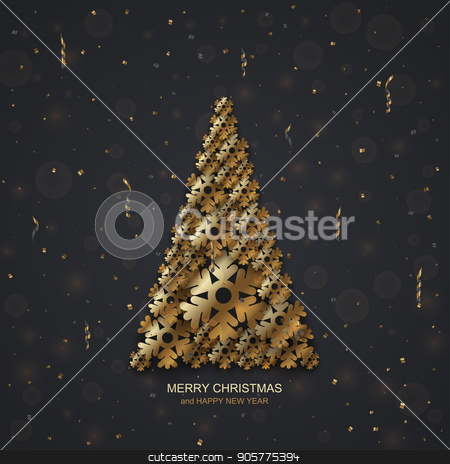 Vector modern Christmas or 2018 Happy New Year winter holiday invitation card stock vector clipart, Vector modern Christmas or 2018 Happy New Year winter holiday invitation card background by petr zaika