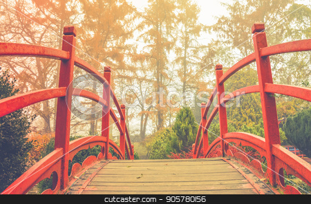 Red wooden bridge in soft light   stock photo, Wooden bridge with the red handrails in a japanese garden, against a background of autumnal trees. by Daniela Simona Temneanu