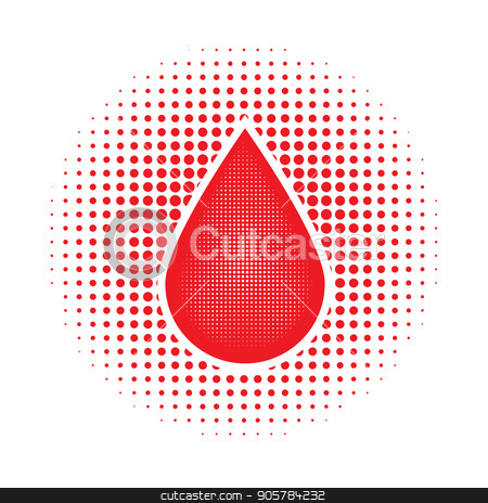 Red Human Blood Drop stock vector clipart, Red Human Blood Drop on Dotted Background by valeo5